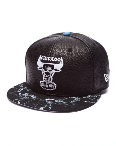 New Era Men Chicago Bull Marble Visor 950 Snapback Hat Black