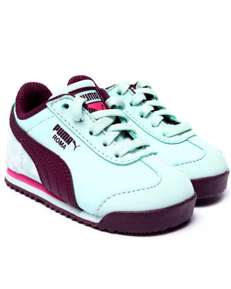 Puma - Girls Light Blue Roma Basic Mp Floral Kids Sneakers (5-10)