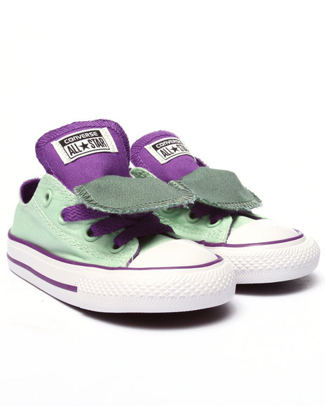 Converse - Girls Green Chuck Taylor All Star Double Tongue (5-10)