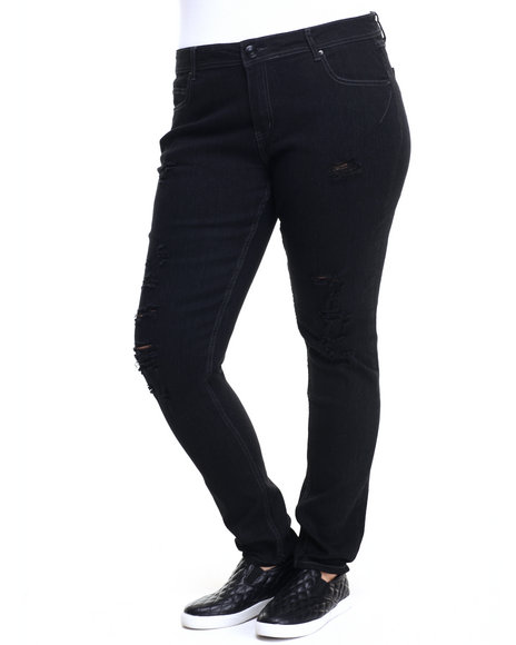 Basic Essentials - Women Black Rebel By Right Darted 5 Pkt Skinny Jean (Plus)