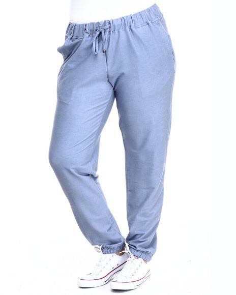 Basic Essentials - Women Blue Solid Knit Denim Jogger (Plus)