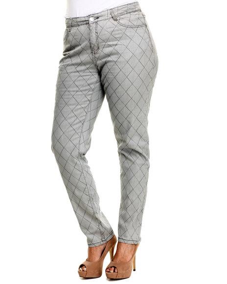 Ur-ID 223731 Basic Essentials - Women Grey Diamond Quilted Skinny (Plus)