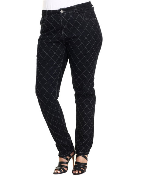 Basic Essentials - Women Black Diamond Quilted Skinny (Plus)