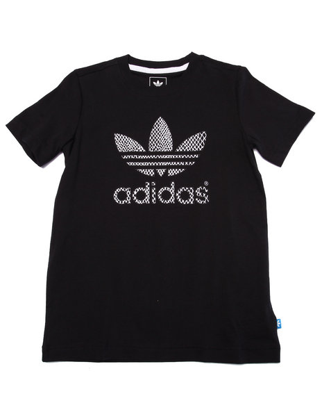 Adidas - Boys Black Junior Snake Trefoil Tee
