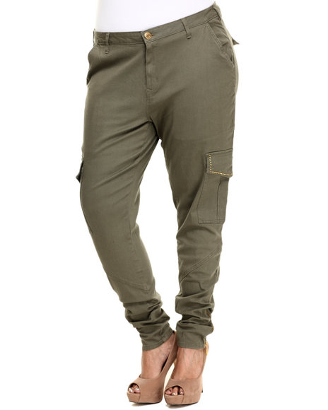 Ur-ID 223862 Basic Essentials - Women Olive Solid Studded Cargo Twill Pant (Plus)