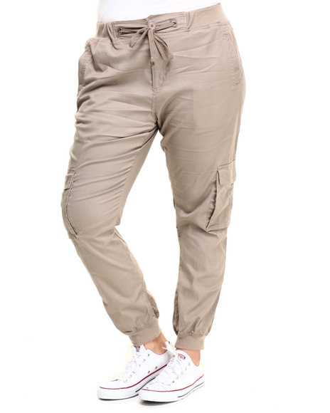 Basic Essentials - Women Khaki Twill Cargo Jogger Pant (Plus)