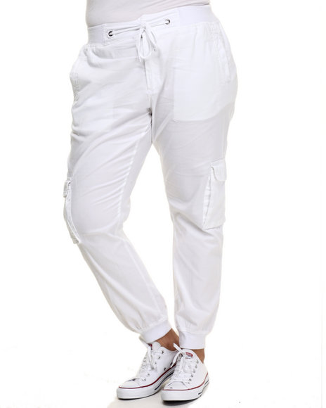 Ur-ID 223920 Basic Essentials - Women White Twill Cargo Jogger Pant (Plus)