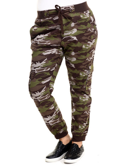 Basic Essentials - Women Brown,Camo Twill Cargo Jogger Pant (Plus)