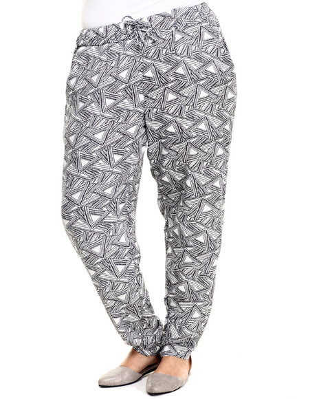 Ur-ID 223923 Basic Essentials - Women Off White,Black Challis Drawstring Pant (Plus)