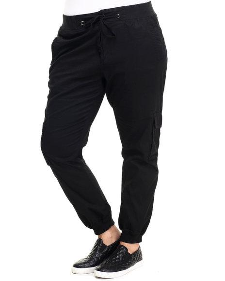 Basic Essentials - Women Black Twill Cargo Jogger Pant (Plus)