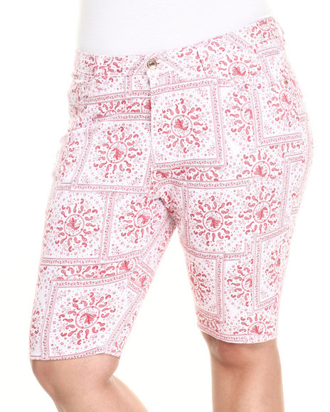 Ur-ID 223726 Basic Essentials - Women Red Bandana Print  Bermuda Shorts (Plus)