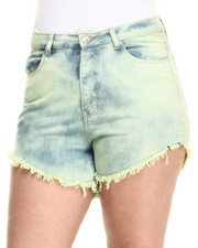 Shorts - High Waist Over Dye Shorts (Plus)