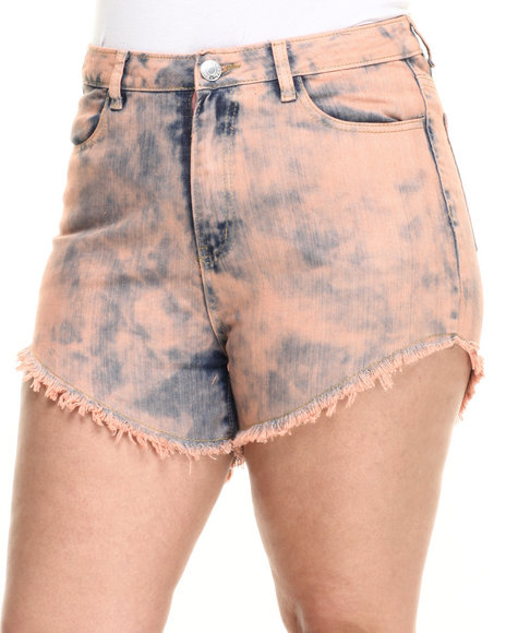 Ur-ID 223732 Basic Essentials - Women Dark Orange High Waist Over Dye Shorts (Plus)