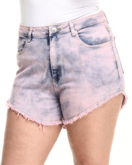 Ur-ID 223735 Basic Essentials - Women Pink High Waist Over Dye Shorts (Plus)