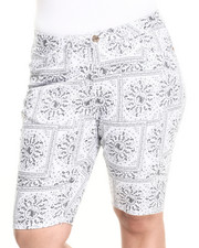 Shorts - Bandana Print  Bermuda Shorts (Plus)