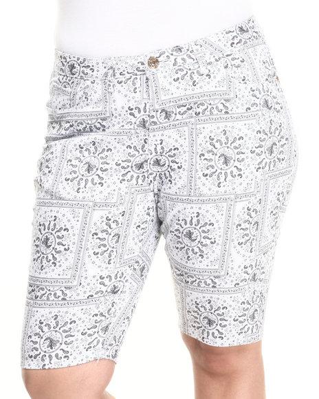 Ur-ID 223857 Basic Essentials - Women Black Bandana Print  Bermuda Shorts (Plus)