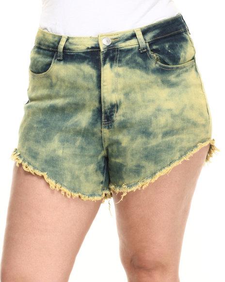 Ur-ID 223861 Basic Essentials - Women Yellow High Waist Over Dye Shorts (Plus)