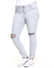 Plus Size - Knee Slashed Skinny Jean (Plus)