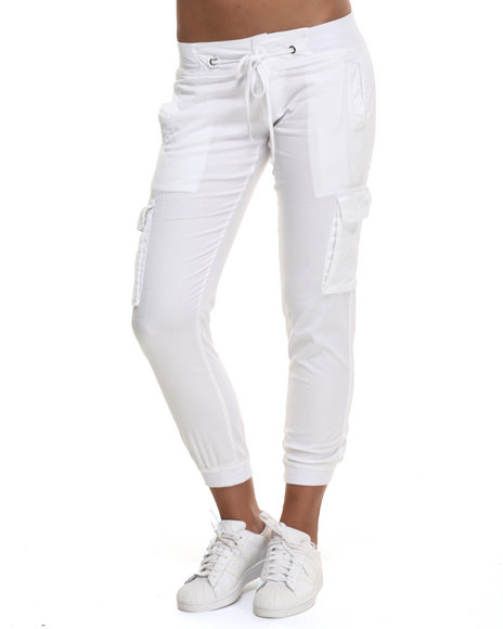 Ur-ID 223927 Basic Essentials - Women White Twill Cargo Jogger Pant