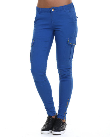 Basic Essentials - Women Blue Solid Studded Cargo Twill Pant