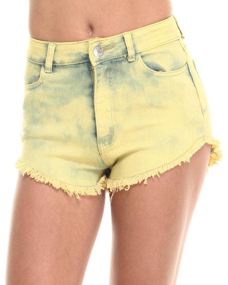 Ur-ID 223931 Basic Essentials - Women Yellow High Waist Over Dye Shorts