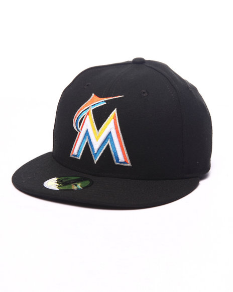 New Era - Men Black Miami Marlins Authentic On Field 59Fifty Fitted Cap