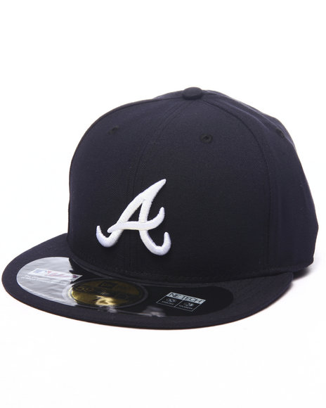 New Era Men Atlanta Braves Authentic OnField 59Fifty Road Fitted Cap Navy 7