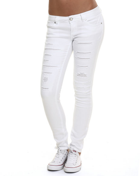Ur-ID 224062 Almost Famous - Women White Rip Repair Slashes Bull Denim Skinny Jean