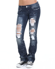 Bottoms - Destructed Paint Splatter Flared Jean