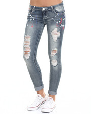 Bottoms - Patriotic Paint Splatter Destructed Mini Roll Skinny Jean
