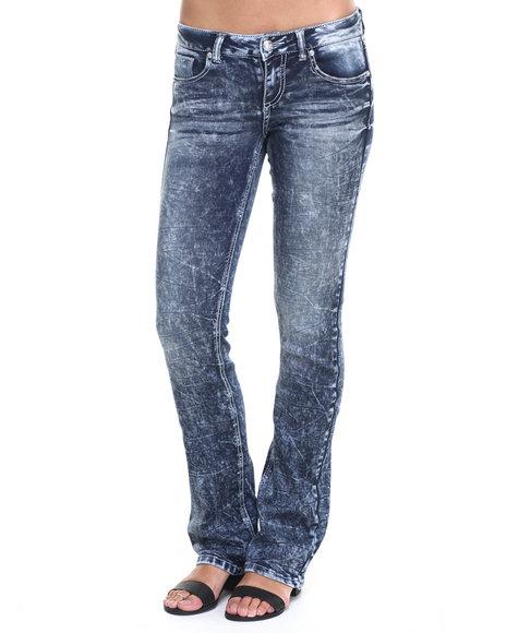 Ur-ID 224074 Almost Famous - Women Dark Wash Acid Wash Rayon Bootcut Skinny Jean