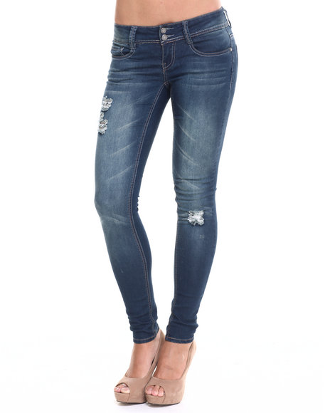 Rampage - Women Dark Blue Chloe Curvy Fit Super Skinny Jean
