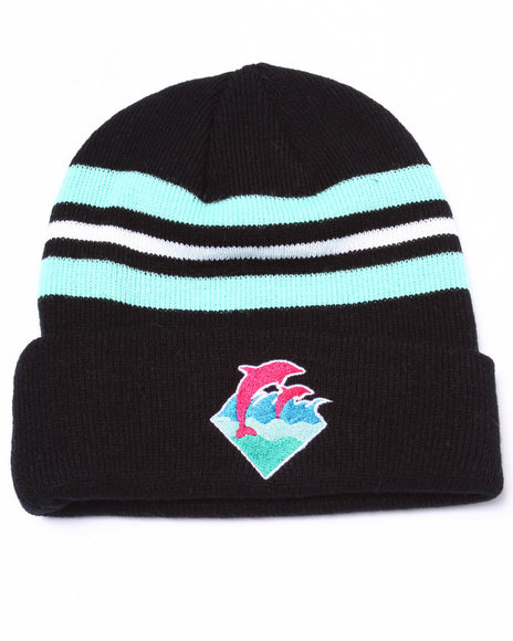 Ur-ID 224153 Pink Dolphin - Men Black Waves Beanie