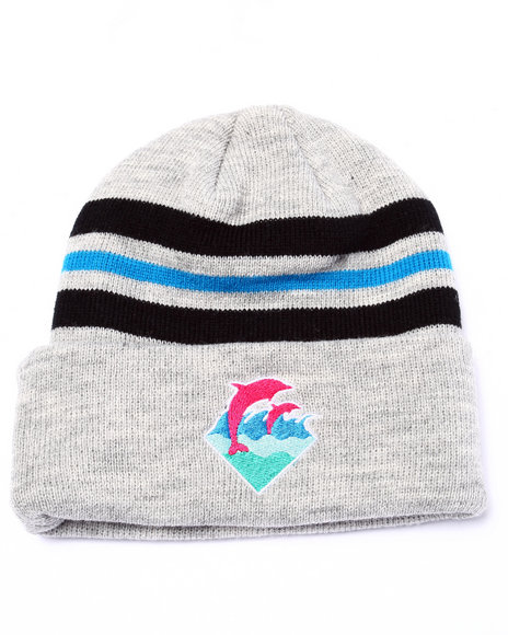 Pink Dolphin Men Waves Beanie Grey