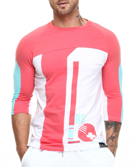 Pink Dolphin - Men Coral,White Ball 3/4 - Sleeve Raglan Tee
