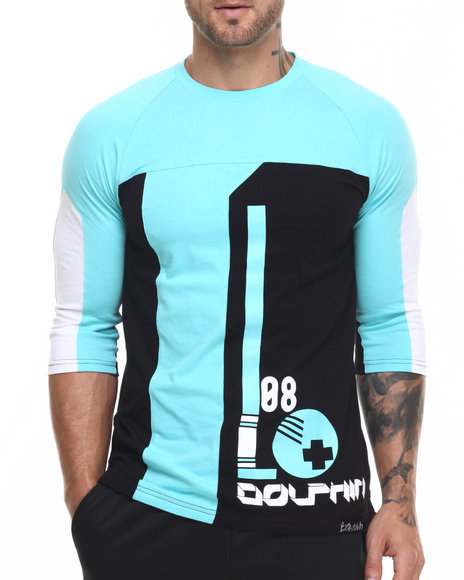 Pink Dolphin - Men Black,Teal Ball 3/4 - Sleeve Raglan Tee