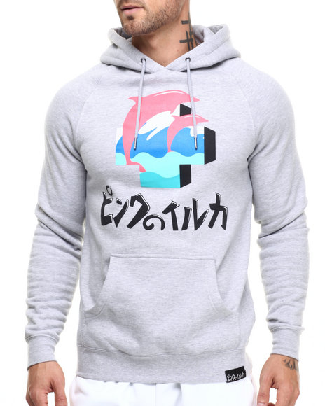 Ur-ID 224089 Pink Dolphin - Men Light Grey 3D Core Pullover Hoodie