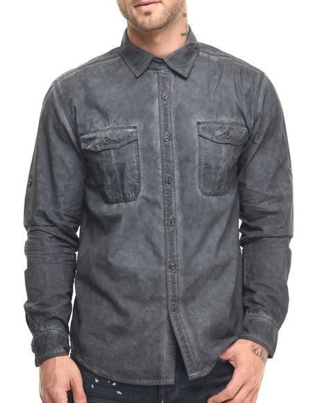 Ur-ID 224091 Lee Cooper - Men Black Shadow Wash Poplin Shirt