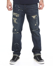 Jeans - Clive Straight Leg Destructed Jean w Splatter