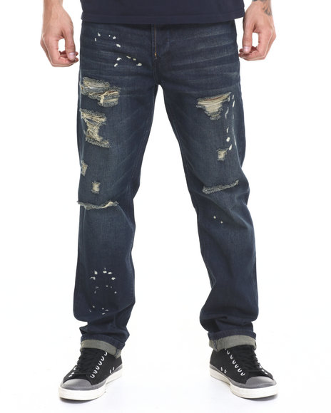 Ur-ID 224112 Lee Cooper - Men Dark Wash Clive Straight Leg Destructed Jean W Splatter