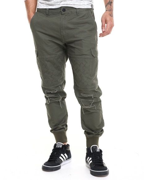Ur-ID 224125 Pink Dolphin - Men Olive Distressed Cargo Pants