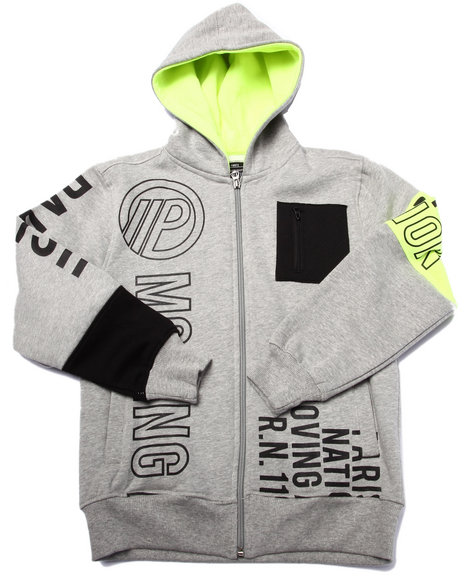 Parish - Boys Grey Full Zip Volt Graphic Hoody (8-20)