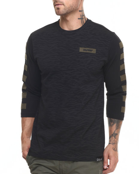 Pink Dolphin - Men Black Stripe Camo 3/4 - Sleeve Raglan Tee