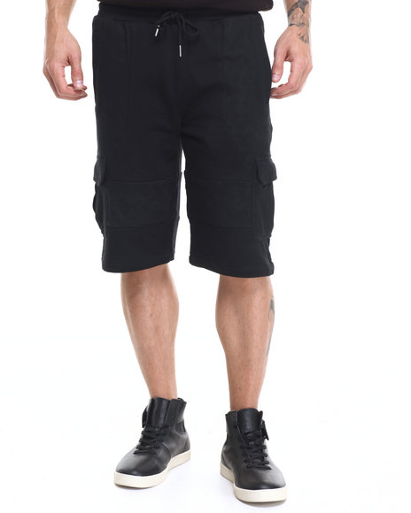 Ur-ID 224142 Pink Dolphin - Men Black Distressed Cargo Shorts