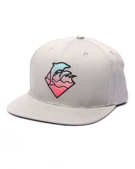 Ur-ID 223993 Pink Dolphin - Men Grey Gradient Waves Snapback Hat