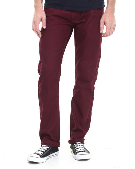 Akademiks - Men Maroon Culture Twill Pants