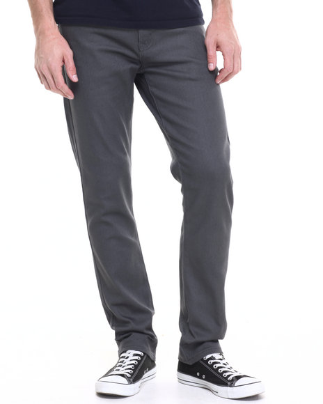Akademiks - Men Grey Shady Twill Pants (Slim-Fit)