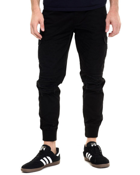 Ur-ID 224192 Pink Dolphin - Men Black Distressed Cargo Pants