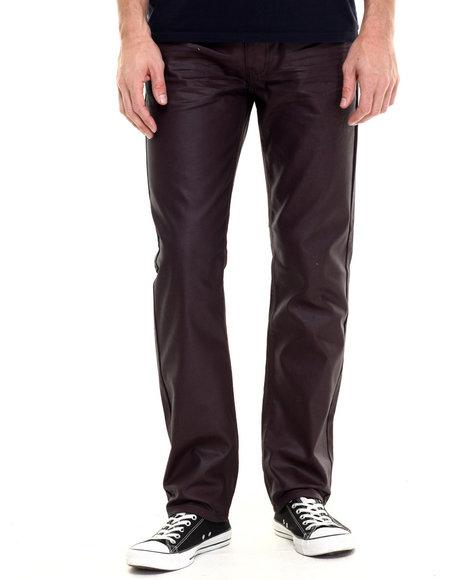 Ur-ID 224198 Akademiks - Men Maroon Robertson Wax Coated Denim Jeans
