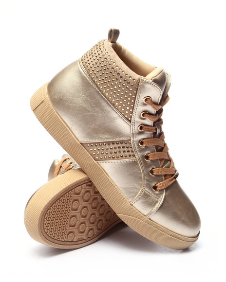 Fashion Lab - Women Gold Tylar Bling High Top Sneaker
